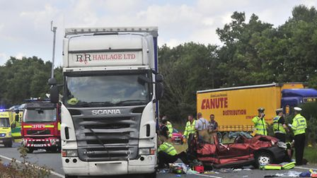 Road Traffic collision on the A14 East bound near the Trimley roundabout in August 2012 in which Chr