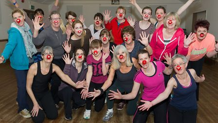 The Rumburgh dance group warms up for the Comic Relief Danceathon on Sunday, March 8.
