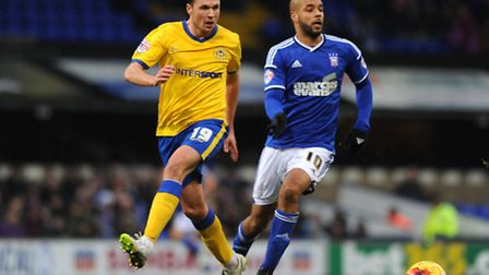 David McGoldrick (right) in action for Ipswich Town.