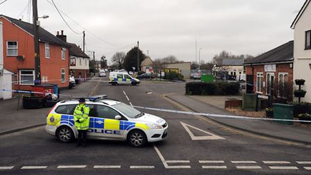 Police at Butler Road in Halstead after an incident.