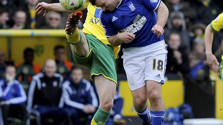 Jay Tabb puts his head into the thick of the action at Norwich