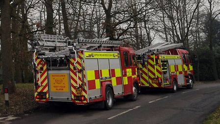 Stock image: emergency services at the scene of a fire