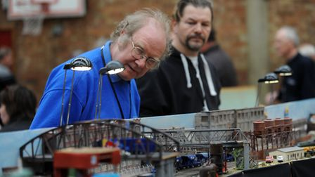 The model railway exhibition at Mid Suffolk Leisure Centre in Stowmarket. Phil Colton (left) and Tom