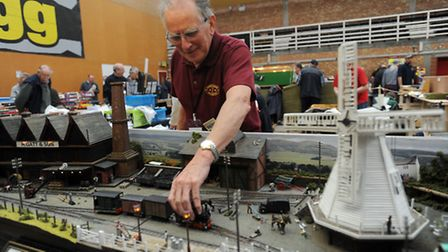 The model railway exhibition at Mid Suffolk Leisure Centre in Stowmarket. Tony Clay with his model r