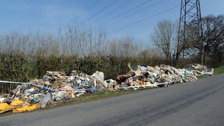 The fly-tipped rubbish in Walsham-le-Willows