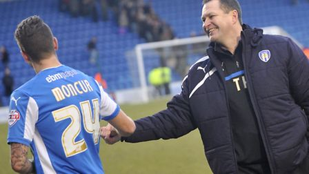 Match-winner George Moncur with manager Tony Humes