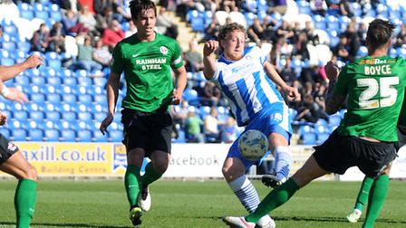 Tom Eastman, scoring for Colchester United against Scunthorpe last weekend