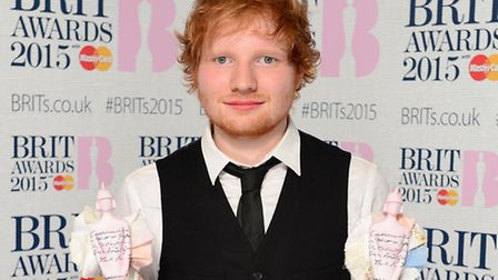 Ed Sheeran with his awards for Best British Male Solo Artist and British Album of the Year at the 20