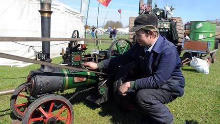 """The Mid and West Suffolk show at Stonham Barns in full flow in 2013 - James Brett with his 4"""" scale"""
