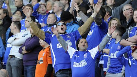 Ipswich Town fans at Wolves on Saturday. Photo: PAGEPIX LTD
