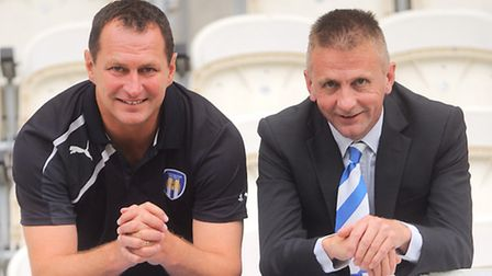 Colchester United chairman, Robbie Cowling, right, with manager Tony Humes