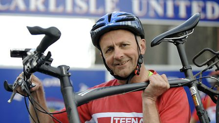 Colchester United chairman, Robbie Cowling, who is getting on his bike age to begin a charity cycle