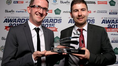 Colchester United media manager Matt Hudson (left) and Tom Taylor, junior club co-ordinator, with th