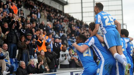 Colchester United v Barnsley. Colchester score a third. Picture: Phil Morley.
