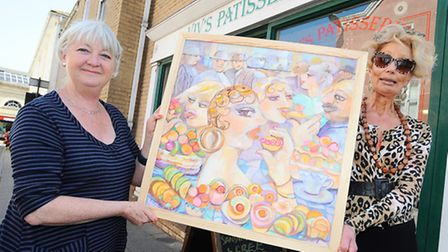 Art Trail launch in Bury St Edmunds. Cate Hadley is hosting the event which includes 29 shops across