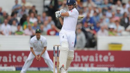 Alastair Cook at the crase against South Africa. Picture: PA