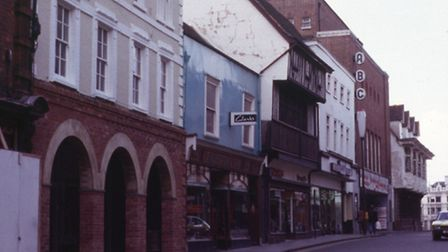 Butter Market in Ipswich showing Aldertons and the now demolished ABC cinema.