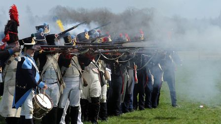 The Battle of Waterloo battle re-enactments in the grounds of Ickworth Park in Horringer.