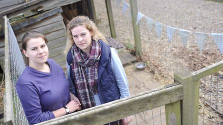 Sarah Pearce and Nicky Moore stand in the kennel where their family dogs Ruby, a working Cocker Span