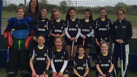 Ipswich hockey under 12 team have quaified for the national finals Back row: Tabitha Creed (g)k, Sa
