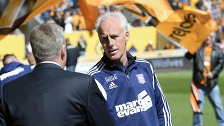 Mick McCarthy shakes hands with Wolves counterpart Kenny Jackett. Photo: PAGEPIX LTD
