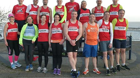 Members of Felixstowe Road Runners who are taking part in marathons this spring and summer.