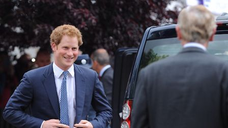 Prince Harry arriving at the Suffolk Show 2014.