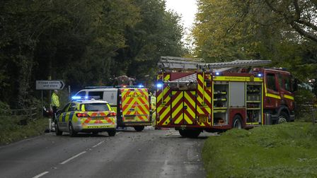 The A1066 is closed due to a serious accident. PHOTO: Simon Parkin