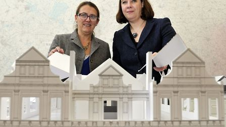 Ipswich Borough Councillor Bryony Rudkin and Ipswich Museum Chief Operating Officer gather around th