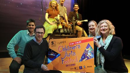 The launch of the Children's Art's Festival at the Theatre Royal in Bury. Front L-R: Tom Ogden (even