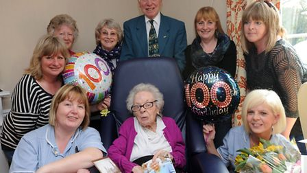 Millicent (Millie) Guilford celebrates her 100th birthday at Rendlesham Care Home with family and st
