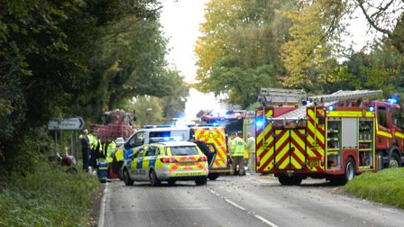 Emergency services are at A1066 following a serious crash. PHOTO: Simon Parkin