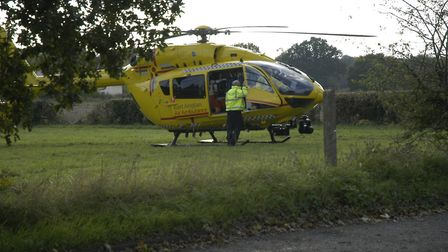 Air ambulance arrive on the scene of a crash on the A1066 in Bressingham. PHOTO: Simon Parkin