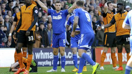 Tommy Smith celebrates after Wolves' defender Richard Stearman had headed in an own goal. Photo: PAG