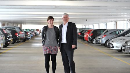 Composer Kate Whitley and Roger Wright at Endeavour House Car Park in. The Multistory Orchestra will