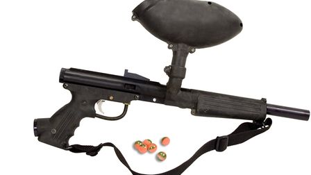 A paintball gun and balls. Police are appealing for information after some fired paintballs at cars