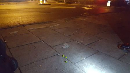 Paintballs found close to where someone was firing at cars on Victoria Road in Diss. Picture: Norfol