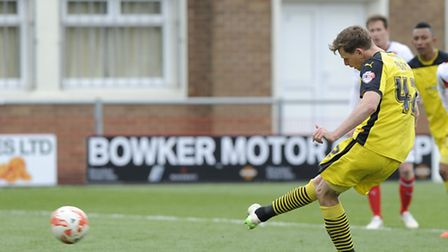 Chris Porter, who missed a vital penalty for Colchester United against Preston this afternoon