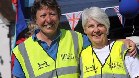 Jayne Woodgate (left) and Domini Pocock in Lavenham after they completed a 154 mile walk in memory