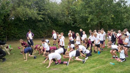 Youngsters taking part in their own peaks challenge. Picture: Jo Lewis