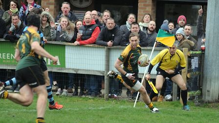 Bury v Chichester - rugby action. Bury score a second half try.