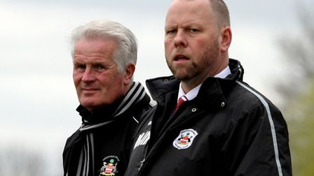 Needham Market manager Mark Morsley (right) and head coach Steve Foley watch on