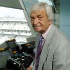 Richie Benaud in the Lords commentary box. Photo: Sean Dempsey.