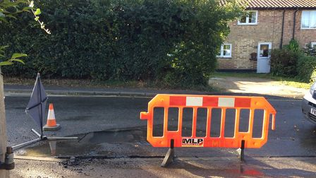 Anglian Water were called out on Monday morning to fix a burst water main pipe on Frenze Road, Diss.
