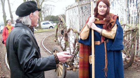Your correspondent with historical re-enactor Jo dressed as Boudicca at Colchesters new Roman Circu