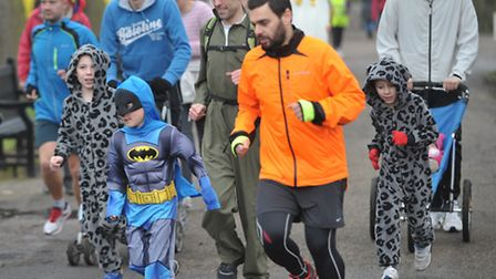 Crowds of runners turned up in fancy dress to celebrate the Colchester Park Run's second anniversary