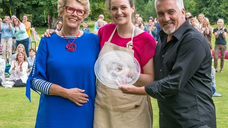 The Great British Bake Off 2017 winner Sophie Faldo with judges Prue Leith and Paul Hollywood. Photo