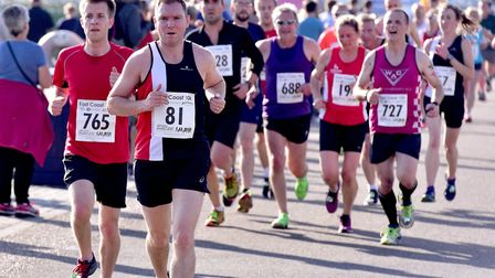 Thousands of runners take part in the East Coast 10K run in Yarmouth. Picture: Nick Butcher
