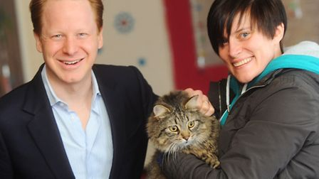 Cat chipping event at The Meeting Place Community Centre. Left to right, Ben Gummer, Bizzles, Claire