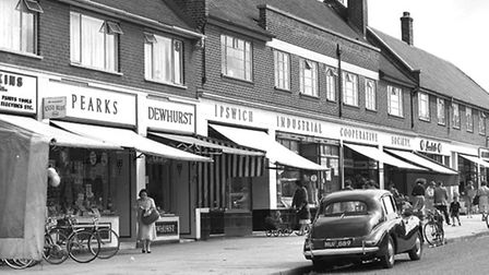Meredith Road shops with Pearks shop (second left).